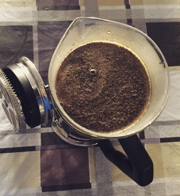 French Press Coffee Bloom